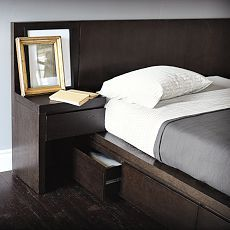 Dark wood. California King Bed with  Built in night stands and storage