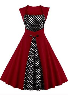 Sleeveless Dot Print Wine Red Patchwork Dress on sale only US$32.06 now, buy cheap Sleeveless Dot Print Wine Red Patchwork Dress at lulugal.com
