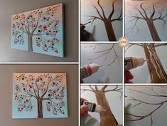 How to DIY Vibrant Button Tree on Canvas | www.FabArtDIY.com