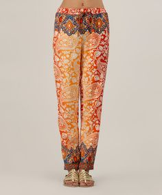 This Red & Orange Paisley Straight-Leg Pants by Kushi by Jasko is perfect! #zulilyfinds