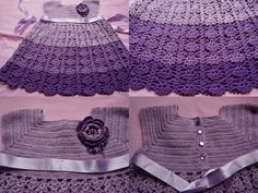 Miss Flor Croche: vestido infantil em tons de lilás