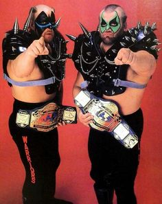 NWA World Tag Team Champions, Hawk and Animal, the Road Warriors Awa Wrestling, Catch Wrestling, Bruiser Brody, The Road Warriors, Combat Sport, Sports Pictures, Professional Wrestling, Looks Cool, Champs
