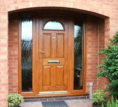 Composite door with Glass side panels white frame, in black with ...