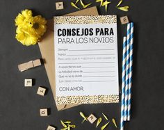 Bridal shower games in spanish, who knows the bride best in spanish, wedding shower games, Bridal Shower Advice, Bride Shower, Wedding Shower Games, Unique Bridal Shower, Wedding Games, Wedding Ideas, Best Wishes Card, Wedding Advice Cards, Bachelorette Party Planning