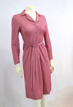 Vintage Clothing 1970's Muted Dusty Rose Pink Dress