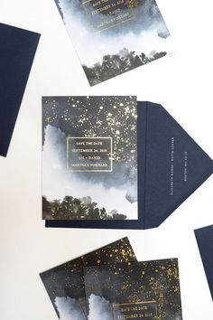 Get creative with an out-of-this-world wedding invite that features gorgeous gold lettering. #WeddingIdeasInvitations
