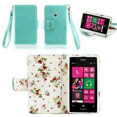 Amazon.com: IZENGATE Elegant Floral Skin Premium PU Leather Wallet Flip Case Cover Folio Stand for Nokia Lumia 521 (Mint): Cell Phones & Acc...