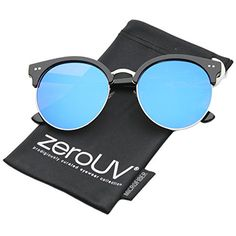 16f8de6acd2 us  zeroUV - Womens Round Oversize Moon Cut Flash Mirror Flat Lens Half  Frame Sunglasses (Black-Silver   Ice)  S