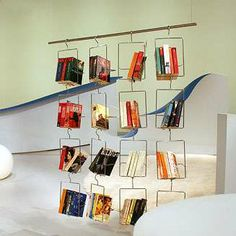 Salkim Bookhangers -- These ingenious metal hangers make books appear as though they are floating in air. Floating Bookshelves, Cool Bookshelves, Bookcase Shelves, Shelving, Bookcases, Library Inspiration, Cozy Chair, Metal Hangers, Steel Furniture