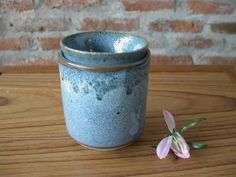 Blue Turquoise Japanese Ceramic Vintage Set, Tea Cup and Soup Cup Handmade pottery, Japanese,