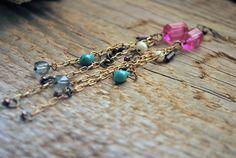 Long Chandelier Earrings Gemstones and Pearls by letemendia, $32.00