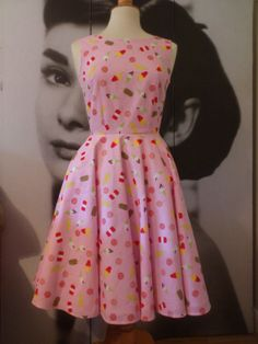 Retro ice cream print pink dress size small by Mariasheehy on Etsy, Pink Dress, Vintage Inspired, Ice Cream, Summer Dresses, Retro, Inspiration, Fashion, Rose Dress, No Churn Ice Cream