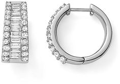 Baguette and Round Diamond Huggie Hoop Earrings in 14K White Gold, 2.0 ct. t.w.