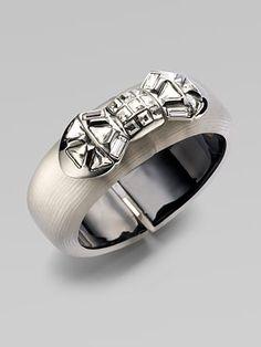 Swarovski Crystal Accented Lucite Bow Bangle Bracelet/Grey $375