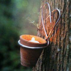 """DIY plant pot as candle with hang heart - From Marie Claire idées, """"Vivre dehors, recevoir dans son jardin"""""""
