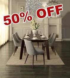 50% OFF Modern 7pcs Ultra Espresso Wood Dining Table Set Fabric Padded Chairs.