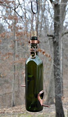 Wine Bottle BirdFeeder The Vineyard by RebeccasBirdGardens,