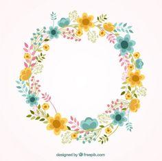 Lindo quadro floral Vetor grátis