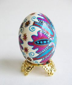 Pysanka Ukrainian Easter eggs, chicken egg shell hand painted batik. $25.95, via Etsy.