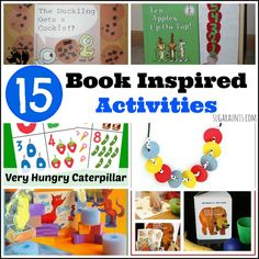 Book Inspired activities for kids. crafts, activities, sensory, learning based on 15 great kids' books.