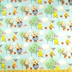 Disney Snow White Seven Dwarfs In The Apple Garden 100% Cotton Fabric