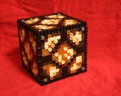 Perler Bead Minecraft red ore lamp   Light Up Minecraft Redstone Lamp I nspired Box Made of Perler Beads ...