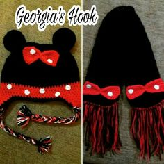 Croshet Minnie Mouse hat and scarf . Georgia, Minnie Mouse, Hats, Long Scarf, Hat, Hipster Hat, Caps Hats