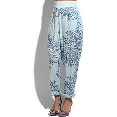 Goubi Green & Blue Floral Harem Pants ($33) ❤ liked on Polyvore featuring pants, flower print pants, rayon pants, harem pants, floral harem pants and elastic waist pants