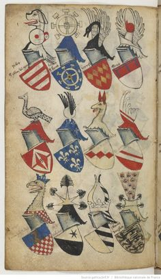 Paris, BnF, ms. fr. 5230  The Bellenville armorial dates from the late 14th century. Author and commissioner are unknown, but the text is written in Dutch, therefore it was probably made somewhere in the historical Netherlands. The armorial consists of two parts. The first part contains coats of arms of European nobles structured by lords. The second part seems to be a collection of occasional rolls of arms of tournaments, military campaigns or the Prussian voyages.  page 67v