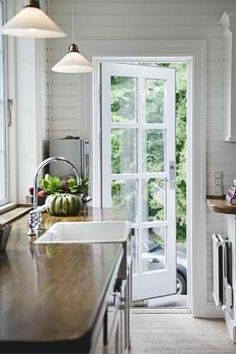 A single french door, perfect from kitchen to deck. A single french door, perfect from kitchen to deck. Single Patio Door, Single French Door, Outdoor Kitchen Countertops, Wood Countertops, Kitchen Doors, Pantry Doors, Outdoor Kitchen Design, Patio Kitchen, Kitchen Redo