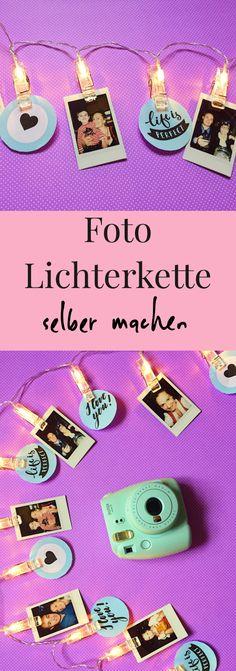 Foto DIY Lichterkette ganz einfach selber machen. Schöne Ideen für selber gemachte Dekoration: Lichterkette mit Bildern als Deko selber basteln. #lichterkette #diyideen diydeko #diybilder #fotodeko #bilderdeko
