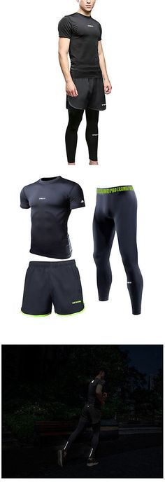 Track Suits 59339: 3 Pcs Mens Quick Drying Compression Running Basketball Sports Fitness Gym Suit BUY IT NOW ONLY: $69.29