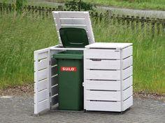 2er Mülltonnenbox Holz für 120 L & 240 L Tonnen, Lichtgrau