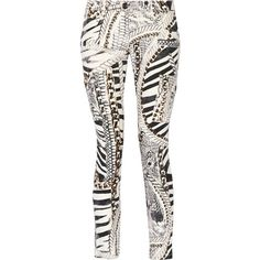 Pierre Balmain Printed low-rise skinny jeans ($241) ❤ liked on Polyvore featuring jeans, white, flap pocket jeans, white super skinny jeans, low rise skinny jeans, skinny leg jeans and skinny fit jeans