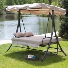 Patio Canopy Swing Hammock 3 Person Bench Cushion Flat Bed Garden Outdoor Porch