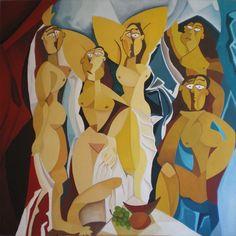 Señoritas de Avignon. Óleo sobre lienzo. Tamaño 120x120 cms. Año 2014