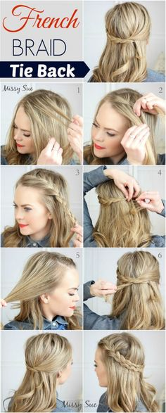 Easy Half up Half down Hairstyles: FRENCH BRAID TIE BACK