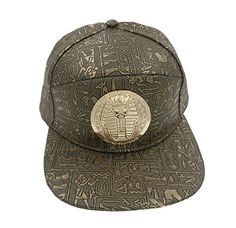 YOXO Adjustable Leather Egyptian Pharaoh Gold Color Snapback Cap Hat for Men Baseball Cap