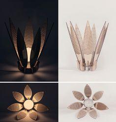 Laser cut timber lamps