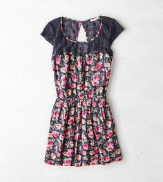 Grey AEO Crocheted & Floral Dress