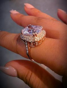 Huge pink diamond ring