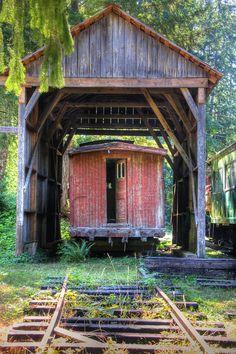 Decommissioned sad caboose at McLean Steam Sawmill, Port Alberni BC. Photo by Lotus Johnson [OS] x Abandoned Train, Abandoned Mansions, Abandoned Buildings, Abandoned Places, Abandoned Ships, By Train, Train Tracks, Old Bridges, Bonde