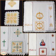 Arquivos para você montar conjuntos de altar bordados, são mais de 80 modelos diferentes compostos por 4 ou 5 arquivos Pala :  Manustérgio:  Corporal:  Sanguíneo 1 e/ou Sanguíneo 2