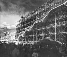 Piano and Rodgers with Obe Arup and Partners - Centre National d'Art et de Culture Georges Pompidou, Paris, France, Renzo Piano, Brutalist, Installation Art, Looking Back, City Photo, Centre, Clouds, Landscape, School Projects