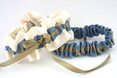 blue and gold wedding garter