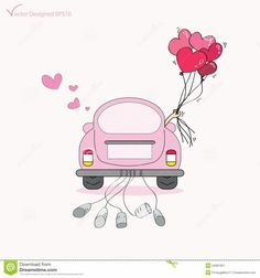 Couple just married on car driving to their honeymoon and holding heart balloons - Vector by pockygallery, via Shutterstock Wedding Day Cards, Indian Wedding Invitation Cards, Wedding Tags, Wedding Paper, Wedding Gifts, Just Married Car, Guest Book Tree, Simple Doodles, Heart Balloons