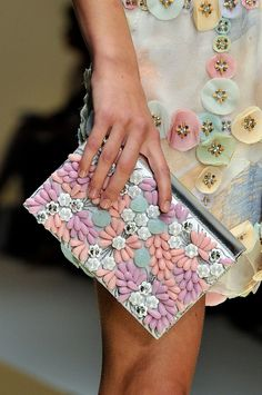 I like the abstract flower dress detail | Laura Biagiotti - Milan Spring 2012