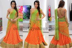 Dikshapanth Orange Half Saree - Saree Blouse Patterns