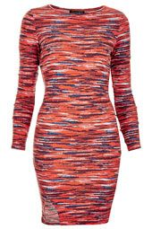 Dresses - Clothing - Topshop- stripe red notch body con dress