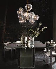 Lamps and Lighting– Home Decor : Each Bolle 6 hanging lamp by Gallotti&Radice looks unique due to the hand burnished brass finish -Read More - Chandelier Bulle, Bubble Chandelier, Luxury Chandelier, Luxury Lighting, Home Lighting, Lighting Design, Lighting Stores, Chandeliers, Deco Luminaire